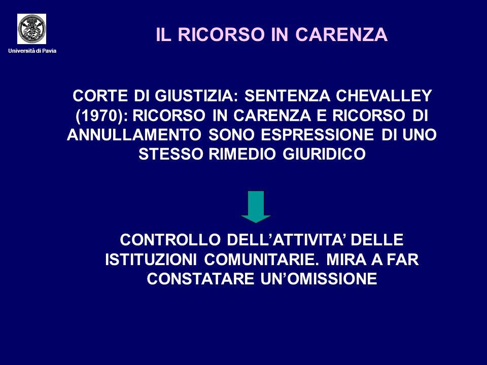 Università di Pavia IL RICORSO IN CARENZA CORTE DI GIUSTIZIA: SENTENZA CHEVALLEY (1970): RICORSO IN CARENZA E RICORSO DI ANNULLAMENTO SONO ESPRESSIONE