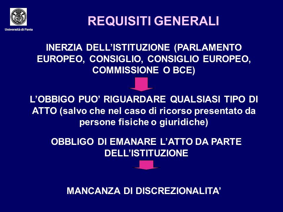 Università di Pavia REQUISITI GENERALI INERZIA DELLISTITUZIONE (PARLAMENTO EUROPEO, CONSIGLIO, CONSIGLIO EUROPEO, COMMISSIONE O BCE) LOBBIGO PUO RIGUA