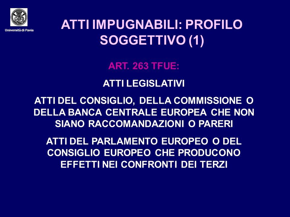 Università di Pavia ATTI IMPUGNABILI: PROFILO SOGGETTIVO (1) ART. 263 TFUE: ATTI LEGISLATIVI ATTI DEL CONSIGLIO, DELLA COMMISSIONE O DELLA BANCA CENTR