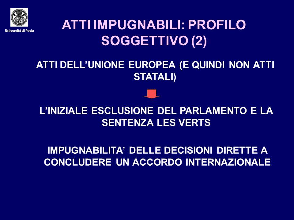 Università di Pavia ATTI IMPUGNABILI: PROFILO SOGGETTIVO (2) ATTI DELLUNIONE EUROPEA (E QUINDI NON ATTI STATALI) LINIZIALE ESCLUSIONE DEL PARLAMENTO E