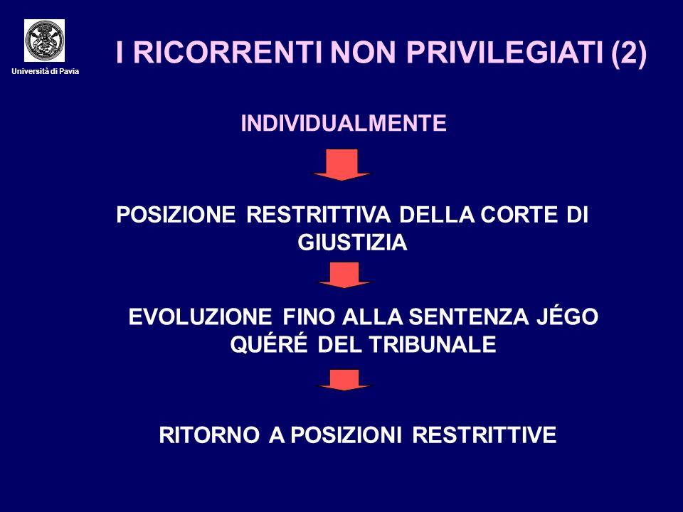 Università di Pavia I RICORRENTI NON PRIVILEGIATI (2) INDIVIDUALMENTE POSIZIONE RESTRITTIVA DELLA CORTE DI GIUSTIZIA EVOLUZIONE FINO ALLA SENTENZA JÉG