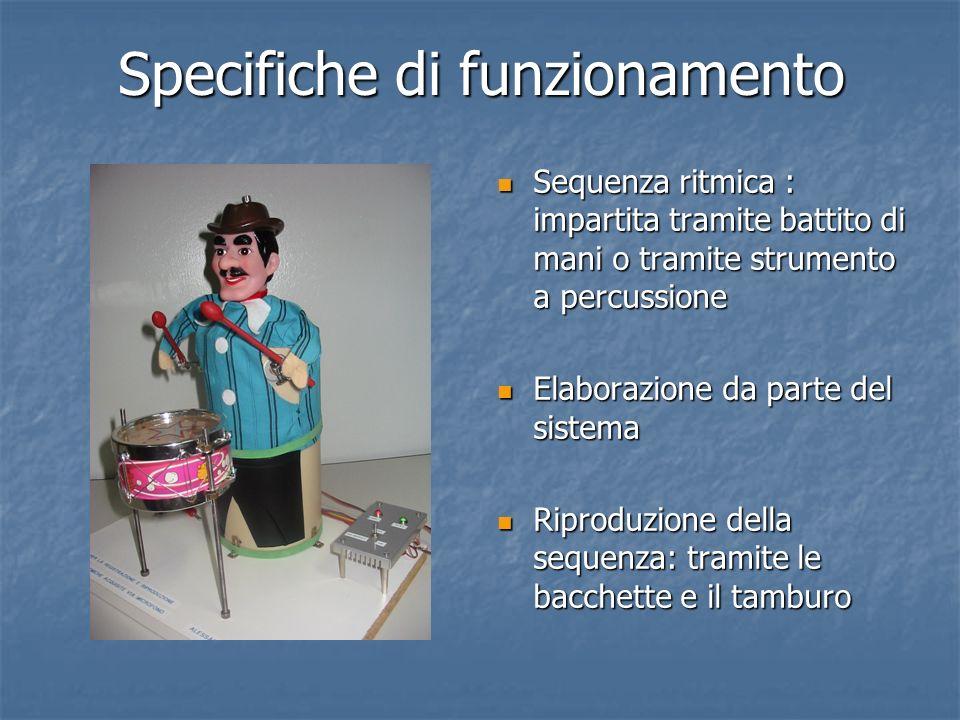 Specifiche di funzionamento Sequenza ritmica : impartita tramite battito di mani o tramite strumento a percussione Sequenza ritmica : impartita tramit