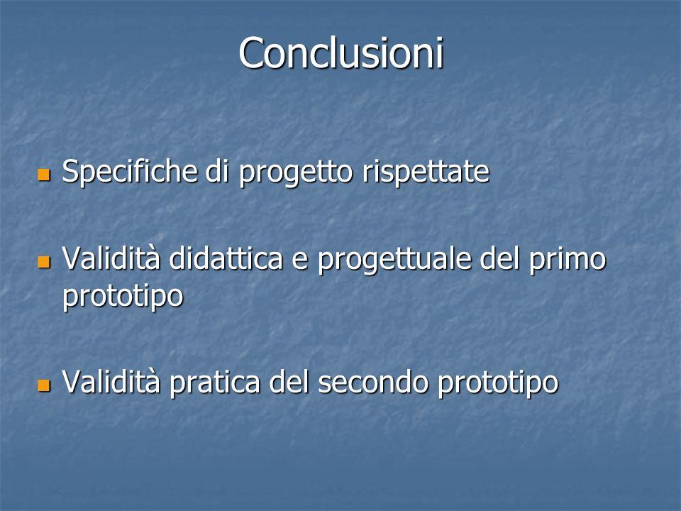 Conclusioni Specifiche di progetto rispettate Specifiche di progetto rispettate Validità didattica e progettuale del primo prototipo Validità didattic
