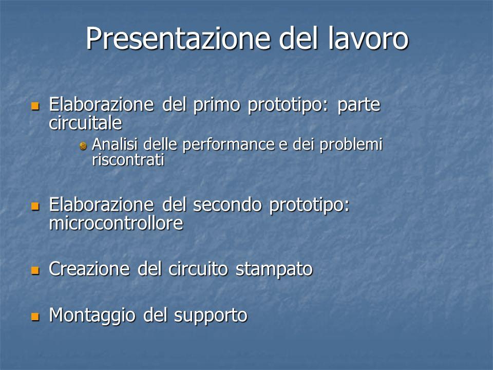 Presentazione del lavoro Elaborazione del primo prototipo: parte circuitale Elaborazione del primo prototipo: parte circuitale Analisi delle performan