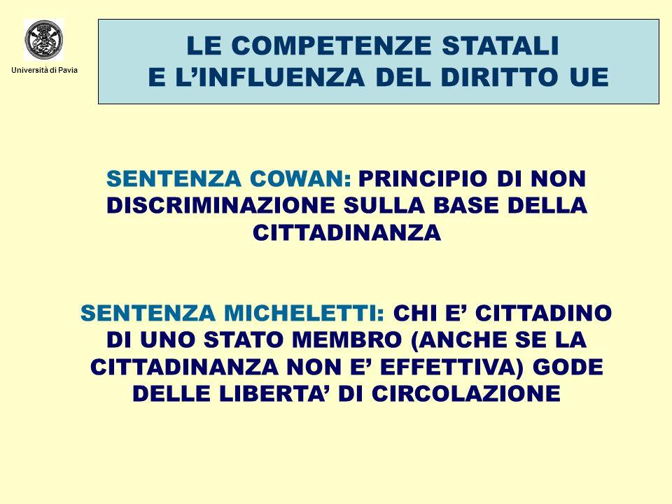 Università di Pavia LE COMPETENZE STATALI E LINFLUENZA DEL DIRITTO UE SENTENZA COWAN: PRINCIPIO DI NON DISCRIMINAZIONE SULLA BASE DELLA CITTADINANZA S
