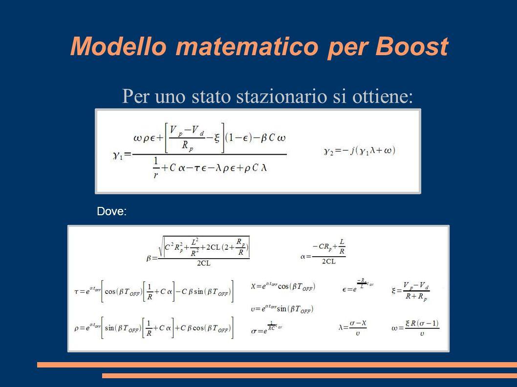Modello matematico per Boost Per uno stato stazionario si ottiene: Dove: