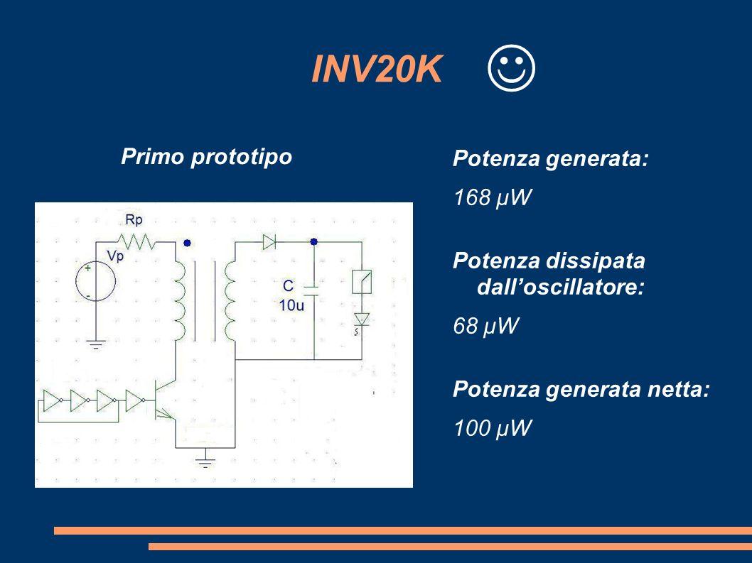 INV20K Primo prototipo Potenza generata: 168 μW Potenza dissipata dalloscillatore: 68 μW Potenza generata netta: 100 μW