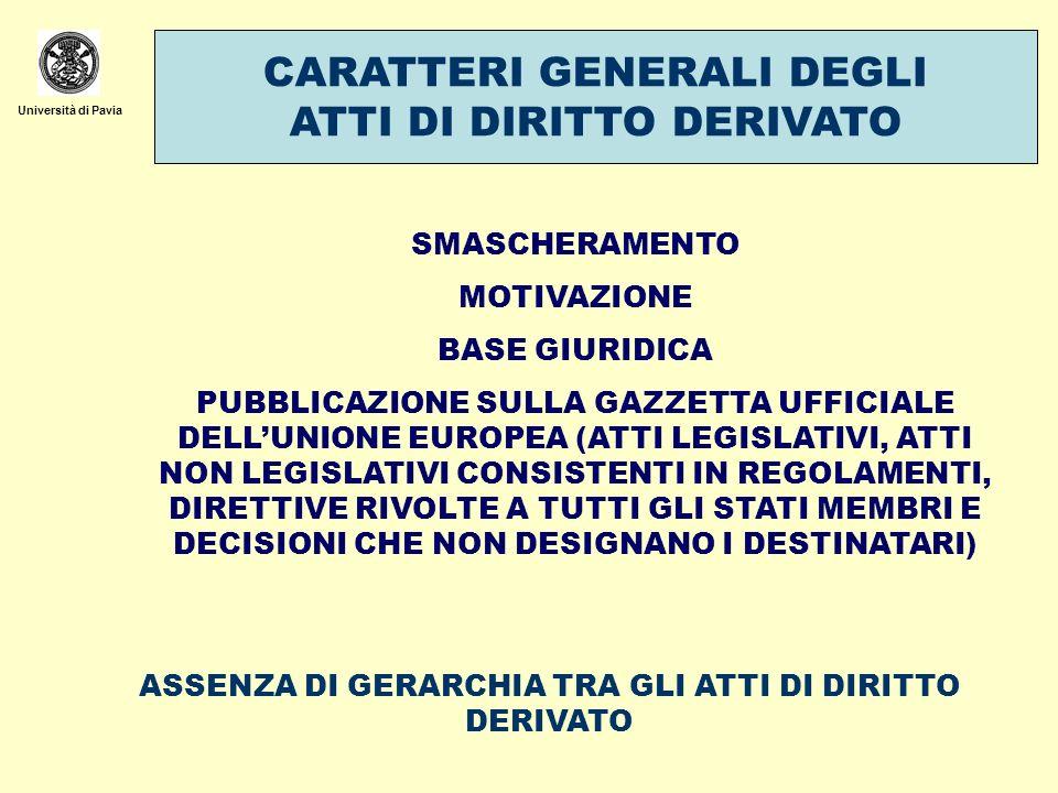Università di Pavia CARATTERI GENERALI DEGLI ATTI DI DIRITTO DERIVATO SMASCHERAMENTO MOTIVAZIONE BASE GIURIDICA PUBBLICAZIONE SULLA GAZZETTA UFFICIALE