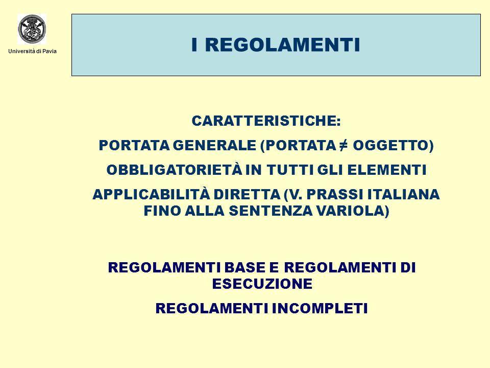 Università di Pavia I REGOLAMENTI CARATTERISTICHE: PORTATA GENERALE (PORTATA OGGETTO) OBBLIGATORIETÀ IN TUTTI GLI ELEMENTI APPLICABILITÀ DIRETTA (V. P
