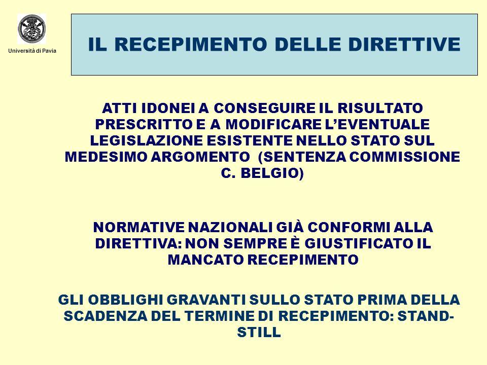 Università di Pavia IL RECEPIMENTO DELLE DIRETTIVE ATTI IDONEI A CONSEGUIRE IL RISULTATO PRESCRITTO E A MODIFICARE LEVENTUALE LEGISLAZIONE ESISTENTE N