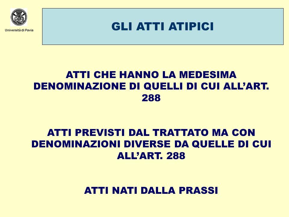 Università di Pavia GLI ATTI ATIPICI ATTI CHE HANNO LA MEDESIMA DENOMINAZIONE DI QUELLI DI CUI ALLART. 288 ATTI PREVISTI DAL TRATTATO MA CON DENOMINAZ