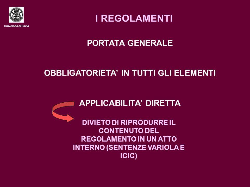 Università di Pavia I REGOLAMENTI PORTATA GENERALE OBBLIGATORIETA IN TUTTI GLI ELEMENTI APPLICABILITA DIRETTA DIVIETO DI RIPRODURRE IL CONTENUTO DEL REGOLAMENTO IN UN ATTO INTERNO (SENTENZE VARIOLA E ICIC)