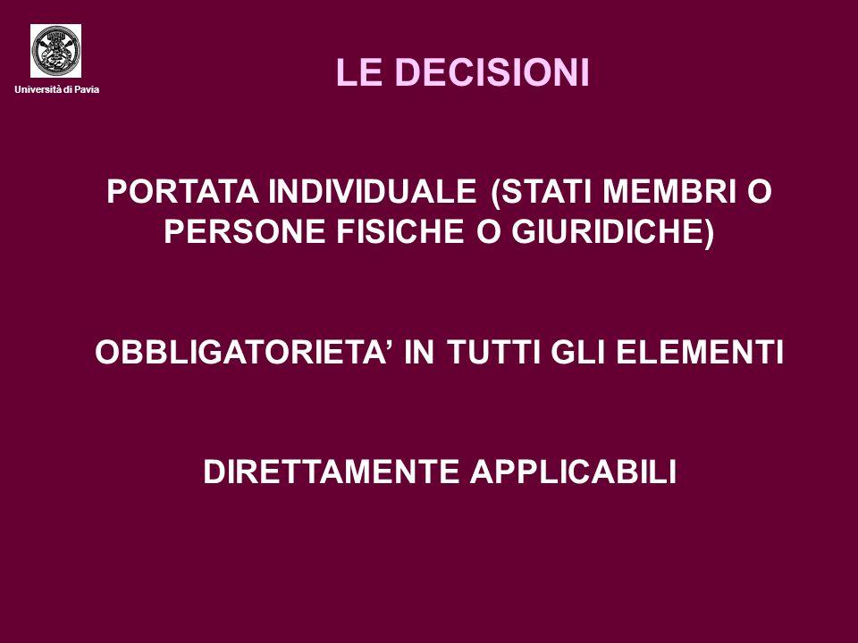 Università di Pavia LE DECISIONI PORTATA INDIVIDUALE (STATI MEMBRI O PERSONE FISICHE O GIURIDICHE) OBBLIGATORIETA IN TUTTI GLI ELEMENTI DIRETTAMENTE APPLICABILI