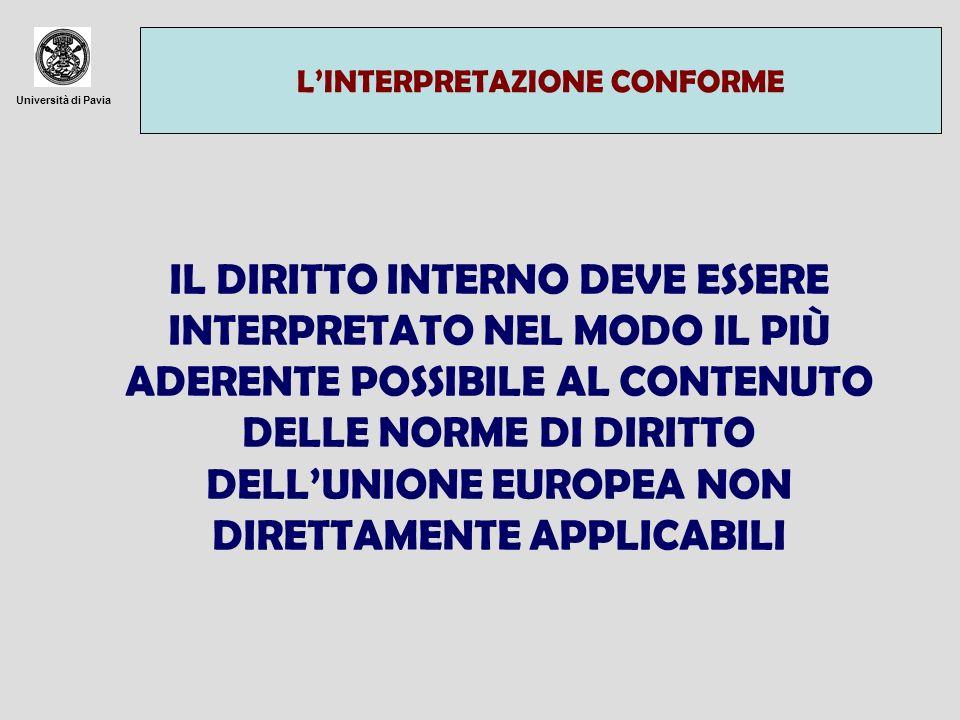 Università di Pavia LINTERPRETAZIONE CONFORME IL DIRITTO INTERNO DEVE ESSERE INTERPRETATO NEL MODO IL PIÙ ADERENTE POSSIBILE AL CONTENUTO DELLE NORME DI DIRITTO DELLUNIONE EUROPEA NON DIRETTAMENTE APPLICABILI