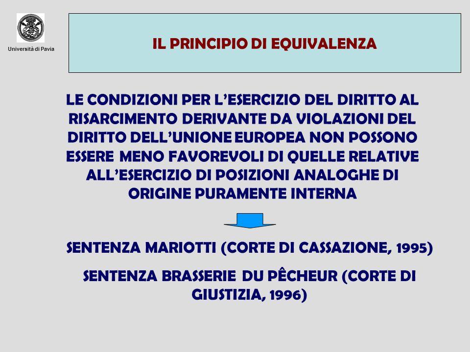 Università di Pavia IL PRINCIPIO DI EQUIVALENZA LE CONDIZIONI PER LESERCIZIO DEL DIRITTO AL RISARCIMENTO DERIVANTE DA VIOLAZIONI DEL DIRITTO DELLUNION