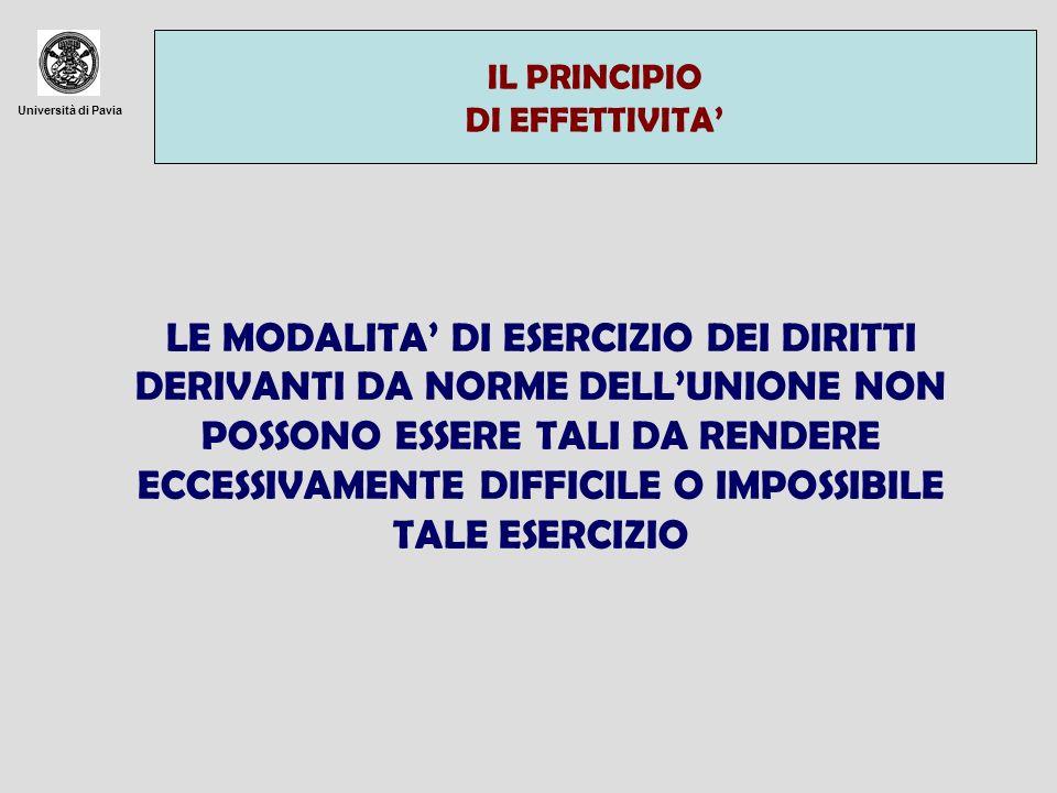 Università di Pavia IL PRINCIPIO DI EFFETTIVITA LE MODALITA DI ESERCIZIO DEI DIRITTI DERIVANTI DA NORME DELLUNIONE NON POSSONO ESSERE TALI DA RENDERE ECCESSIVAMENTE DIFFICILE O IMPOSSIBILE TALE ESERCIZIO