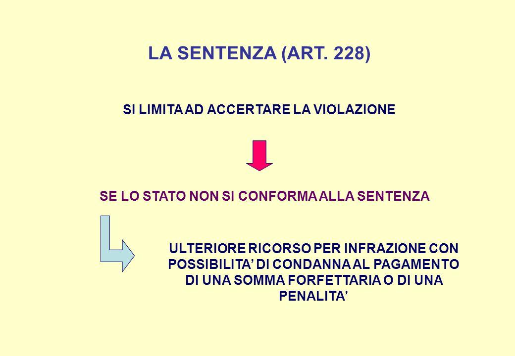 LA SENTENZA (ART. 228) SI LIMITA AD ACCERTARE LA VIOLAZIONE SE LO STATO NON SI CONFORMA ALLA SENTENZA ULTERIORE RICORSO PER INFRAZIONE CON POSSIBILITA