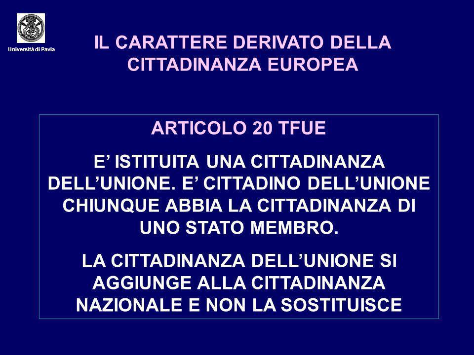 Università di Pavia IL CARATTERE DERIVATO DELLA CITTADINANZA EUROPEA ARTICOLO 20 TFUE E ISTITUITA UNA CITTADINANZA DELLUNIONE.