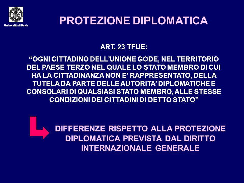 Università di Pavia PROTEZIONE DIPLOMATICA ART.