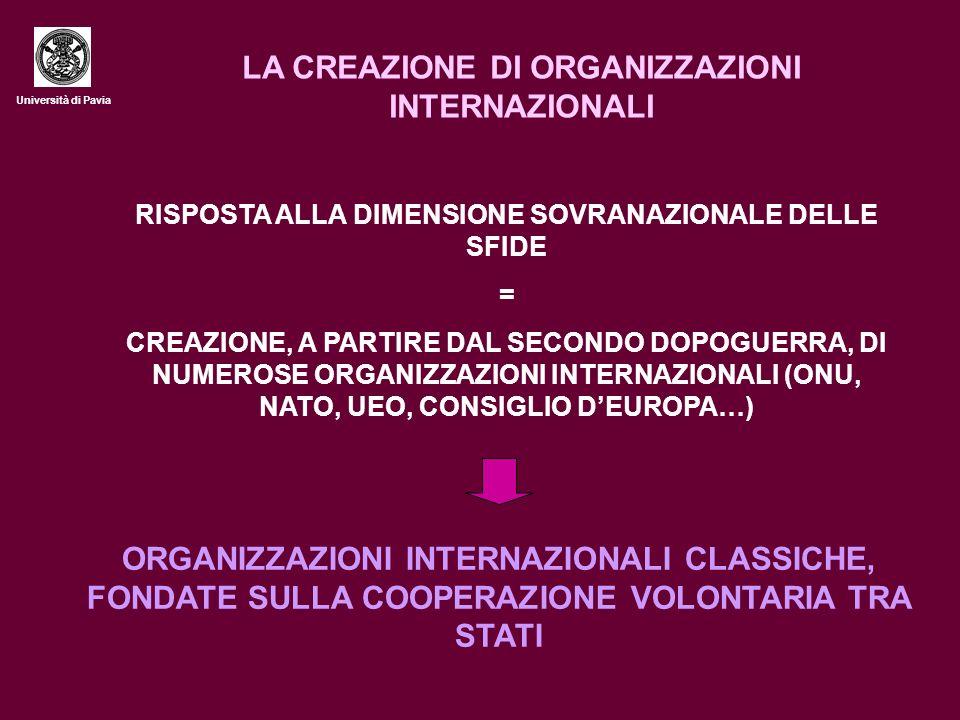 Università di Pavia LA CREAZIONE DI ORGANIZZAZIONI INTERNAZIONALI RISPOSTA ALLA DIMENSIONE SOVRANAZIONALE DELLE SFIDE = CREAZIONE, A PARTIRE DAL SECONDO DOPOGUERRA, DI NUMEROSE ORGANIZZAZIONI INTERNAZIONALI (ONU, NATO, UEO, CONSIGLIO DEUROPA…) ORGANIZZAZIONI INTERNAZIONALI CLASSICHE, FONDATE SULLA COOPERAZIONE VOLONTARIA TRA STATI