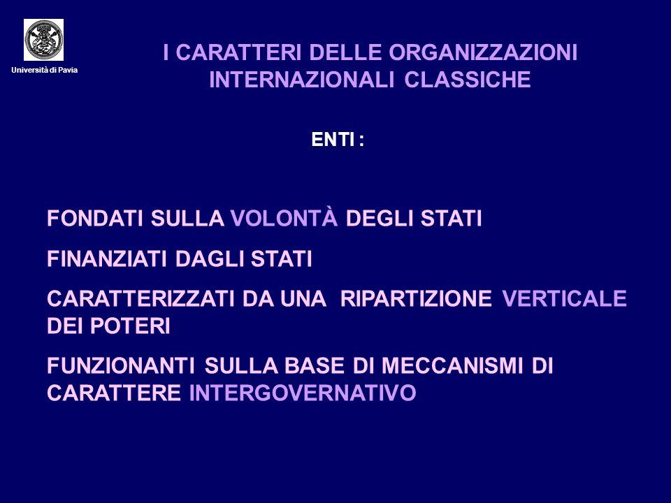 Università di Pavia I CARATTERI DELLE ORGANIZZAZIONI INTERNAZIONALI CLASSICHE ENTI : FONDATI SULLA VOLONTÀ DEGLI STATI FINANZIATI DAGLI STATI CARATTER