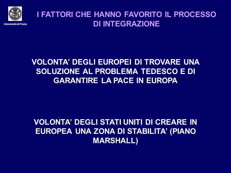 Università di Pavia I FATTORI CHE HANNO FAVORITO IL PROCESSO DI INTEGRAZIONE VOLONTA DEGLI EUROPEI DI TROVARE UNA SOLUZIONE AL PROBLEMA TEDESCO E DI G