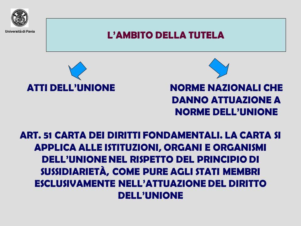 Università di Pavia LAMBITO DELLA TUTELA Università di Pavia ATTI DELLUNIONENORME NAZIONALI CHE DANNO ATTUAZIONE A NORME DELLUNIONE ART. 51 CARTA DEI
