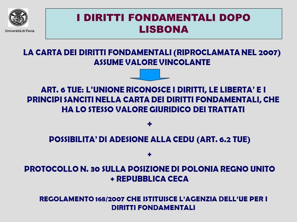 Università di Pavia I DIRITTI FONDAMENTALI DOPO LISBONA LA CARTA DEI DIRITTI FONDAMENTALI (RIPROCLAMATA NEL 2007) ASSUME VALORE VINCOLANTE ART. 6 TUE: