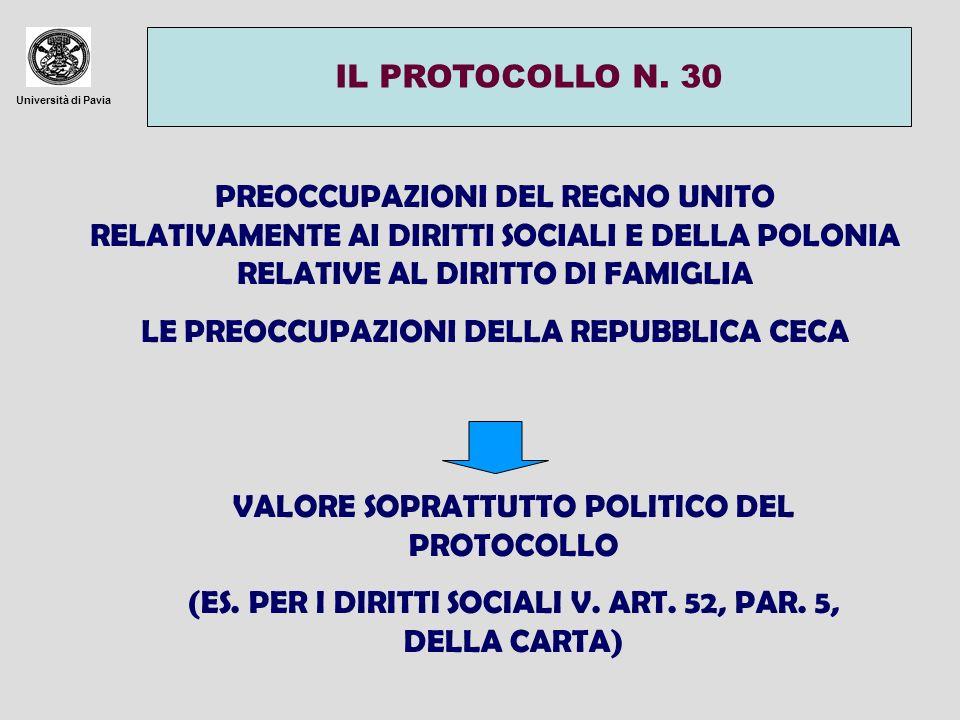 Università di Pavia IL PROTOCOLLO N. 30 PREOCCUPAZIONI DEL REGNO UNITO RELATIVAMENTE AI DIRITTI SOCIALI E DELLA POLONIA RELATIVE AL DIRITTO DI FAMIGLI