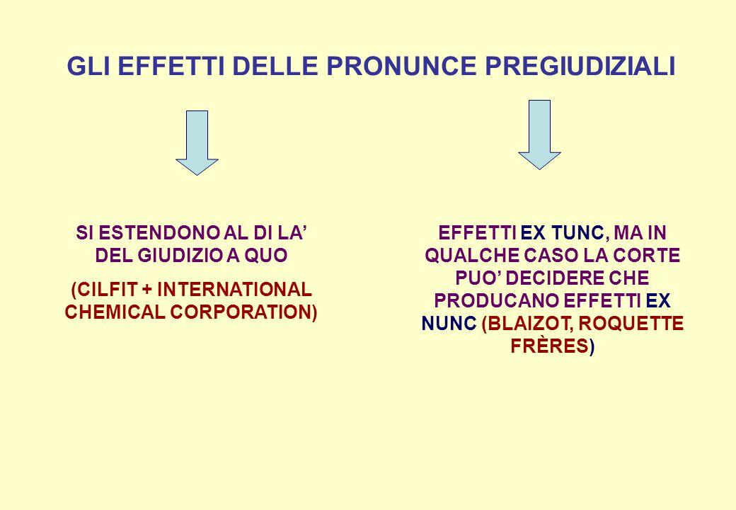 GLI EFFETTI DELLE PRONUNCE PREGIUDIZIALI SI ESTENDONO AL DI LA DEL GIUDIZIO A QUO (CILFIT + INTERNATIONAL CHEMICAL CORPORATION) EFFETTI EX TUNC, MA IN QUALCHE CASO LA CORTE PUO DECIDERE CHE PRODUCANO EFFETTI EX NUNC (BLAIZOT, ROQUETTE FRÈRES)