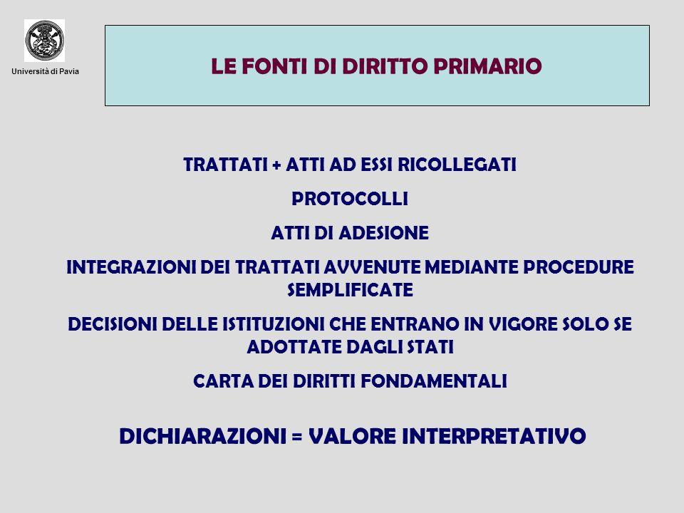 Università di Pavia I PROTOCOLLI VOLONTÀ DI NON APPESANTIRE IL TESTO DEL TRATTATO (ES.