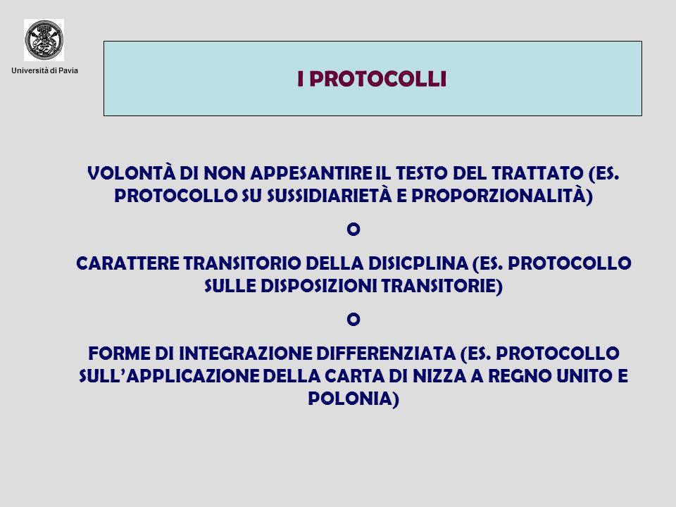 Università di Pavia INTEGRAZIONI DEI TRATTATI MEDIANTE PROCEDURE SEMPLIFICATE ART.