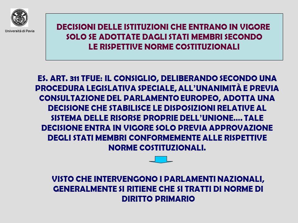 Università di Pavia DECISIONI DELLE ISTITUZIONI CHE ENTRANO IN VIGORE SOLO SE ADOTTATE DAGLI STATI MEMBRI SECONDO LE RISPETTIVE NORME COSTITUZIONALI ES.
