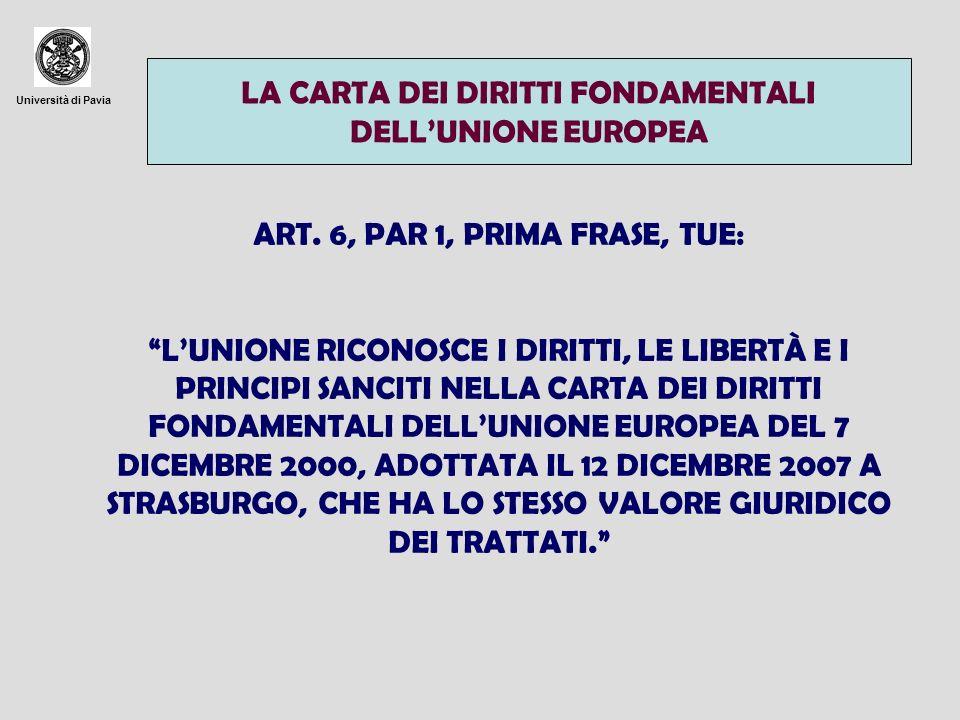 Università di Pavia LA CARTA DEI DIRITTI FONDAMENTALI DELLUNIONE EUROPEA ART. 6, PAR 1, PRIMA FRASE, TUE: LUNIONE RICONOSCE I DIRITTI, LE LIBERTÀ E I