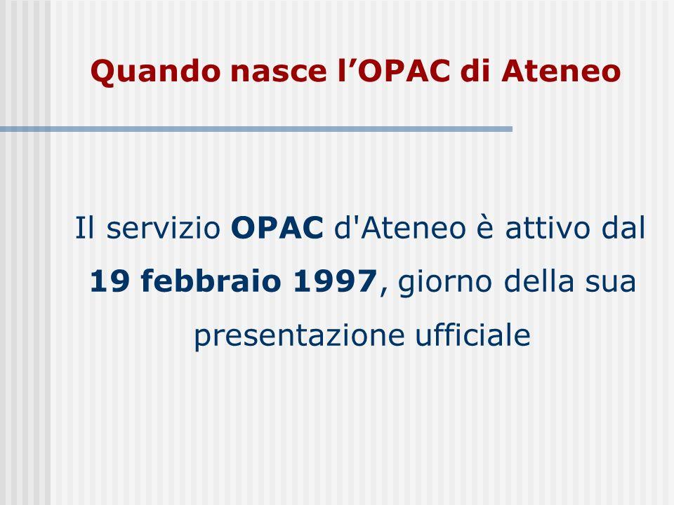 Quando nasce lOPAC di Ateneo Il servizio OPAC d Ateneo è attivo dal 19 febbraio 1997, giorno della sua presentazione ufficiale