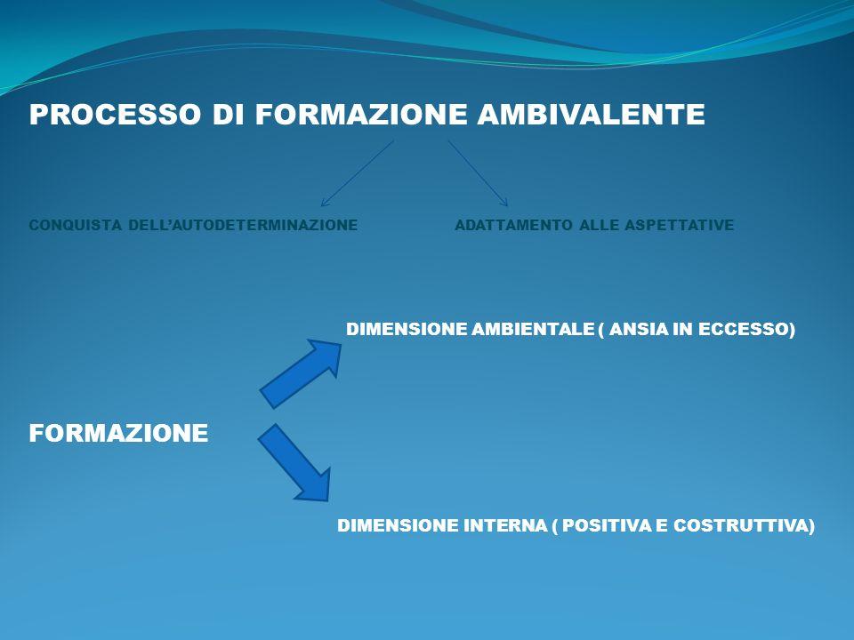 PROCESSO DI FORMAZIONE AMBIVALENTE CONQUISTA DELLAUTODETERMINAZIONE ADATTAMENTO ALLE ASPETTATIVE DIMENSIONE AMBIENTALE ( ANSIA IN ECCESSO) FORMAZIONE DIMENSIONE INTERNA ( POSITIVA E COSTRUTTIVA)