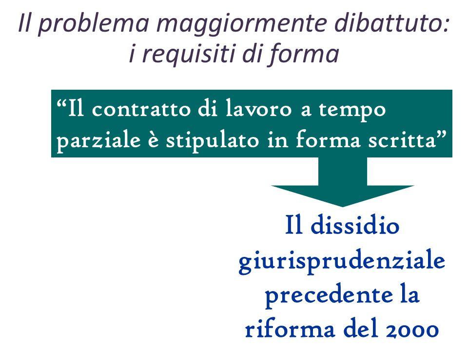 Il problema maggiormente dibattuto: i requisiti di forma Il contratto di lavoro a tempo parziale è stipulato in forma scritta Il dissidio giurisprudenziale precedente la riforma del 2000