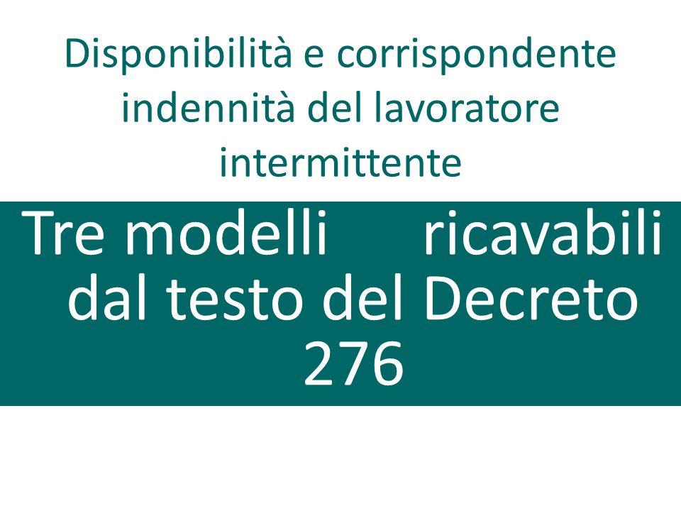 Tre modelli ricavabili dal testo del Decreto 276 Disponibilità e corrispondente indennità del lavoratore intermittente