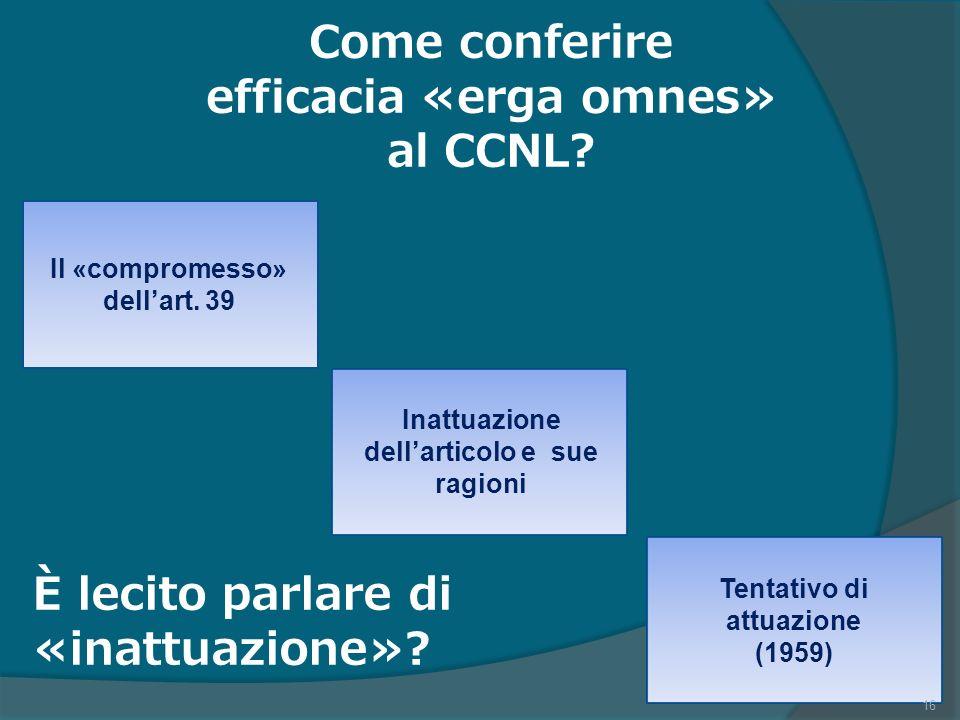 Come conferire efficacia «erga omnes» al CCNL.Il «compromesso» dellart.