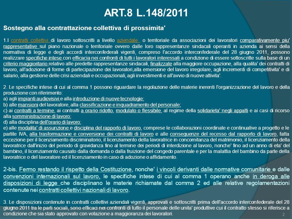 23 Profili di costituzionalità: Tesi di Del Punta: art 8 come primo serio tentavo di dare stabilità alla disciplina giuslavoristica; Art.