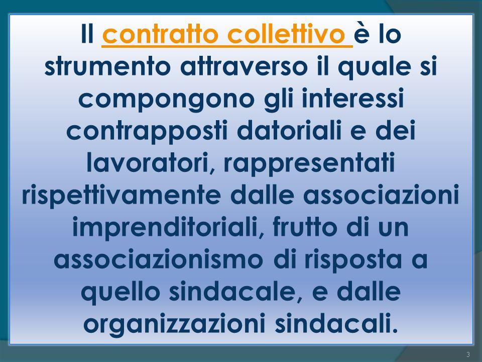 Il contratto collettivo è lo strumento attraverso il quale si compongono gli interessi contrapposti datoriali e dei lavoratori, rappresentati rispettivamente dalle associazioni imprenditoriali, frutto di un associazionismo di risposta a quello sindacale, e dalle organizzazioni sindacali.contratto collettivo 3