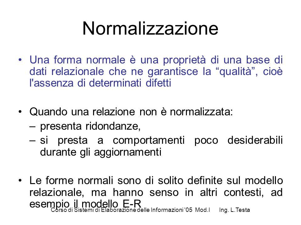 Normalizzazione Una forma normale è una proprietà di una base di dati relazionale che ne garantisce la qualità, cioè l'assenza di determinati difetti