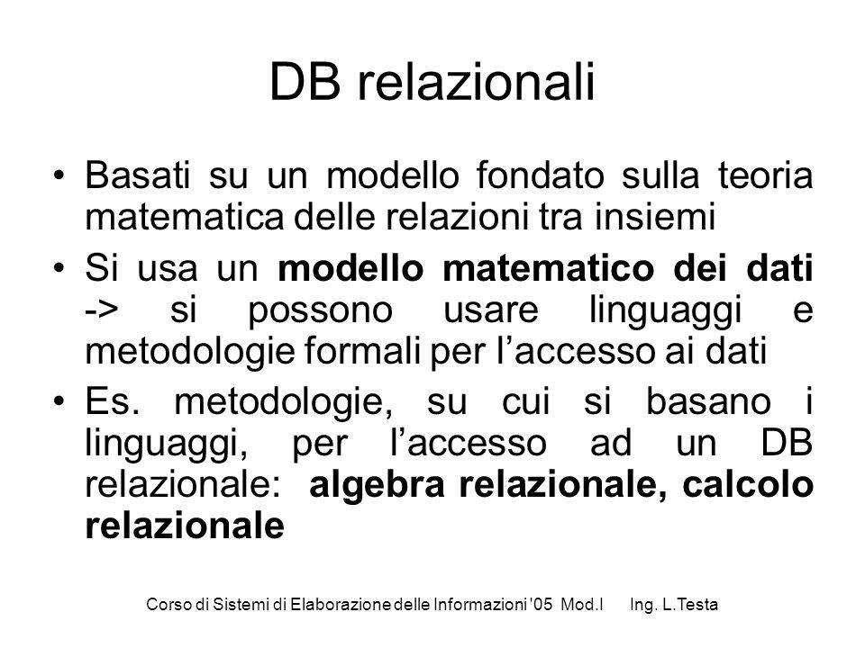 Corso di Sistemi di Elaborazione delle Informazioni '05 Mod.I Ing. L.Testa DB relazionali Basati su un modello fondato sulla teoria matematica delle r