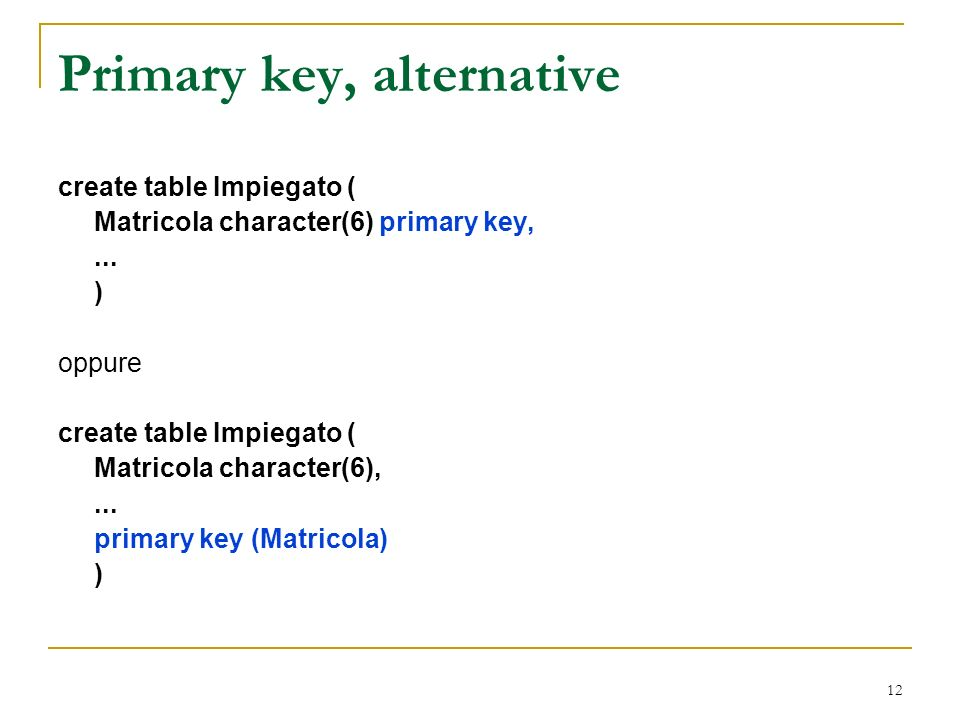 12 Primary key, alternative create table Impiegato ( Matricola character(6) primary key,...