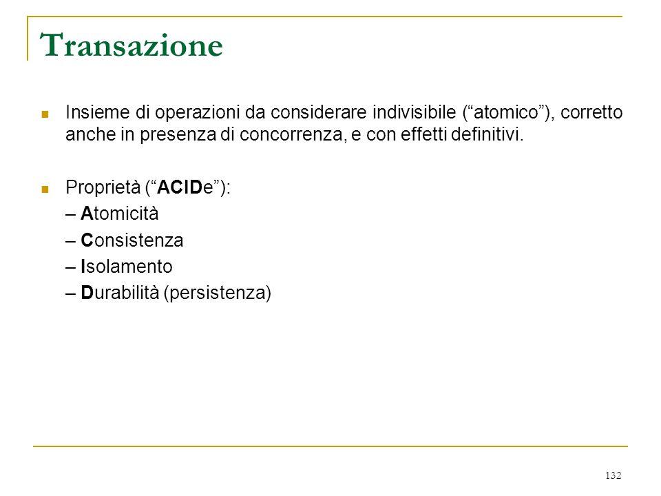 132 Transazione Insieme di operazioni da considerare indivisibile (atomico), corretto anche in presenza di concorrenza, e con effetti definitivi.