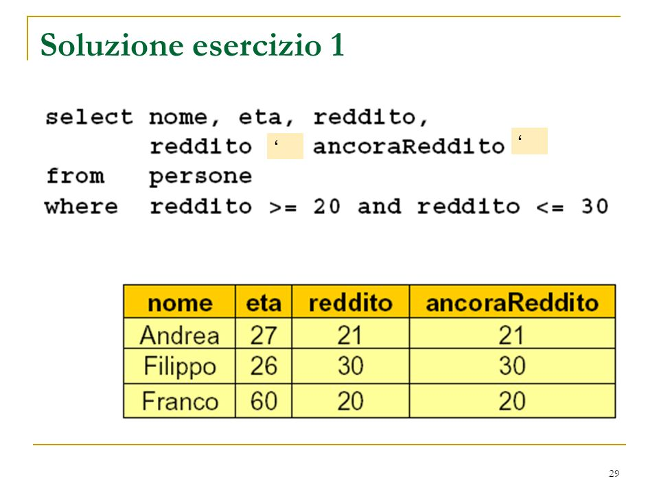 29 Soluzione esercizio 1