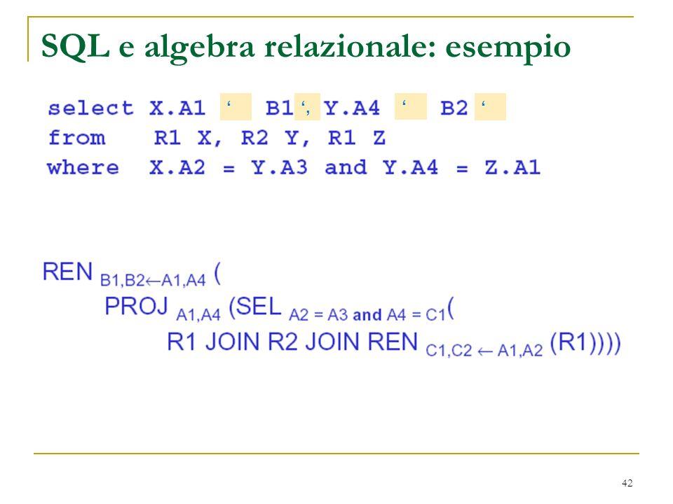 42 SQL e algebra relazionale: esempio,