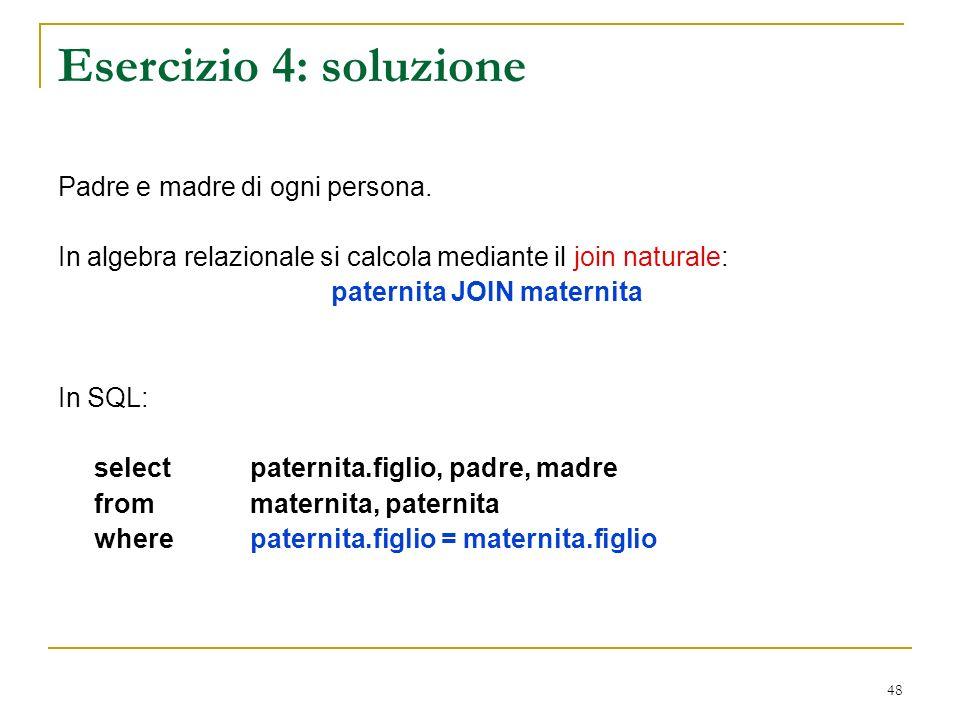 48 Esercizio 4: soluzione Padre e madre di ogni persona.