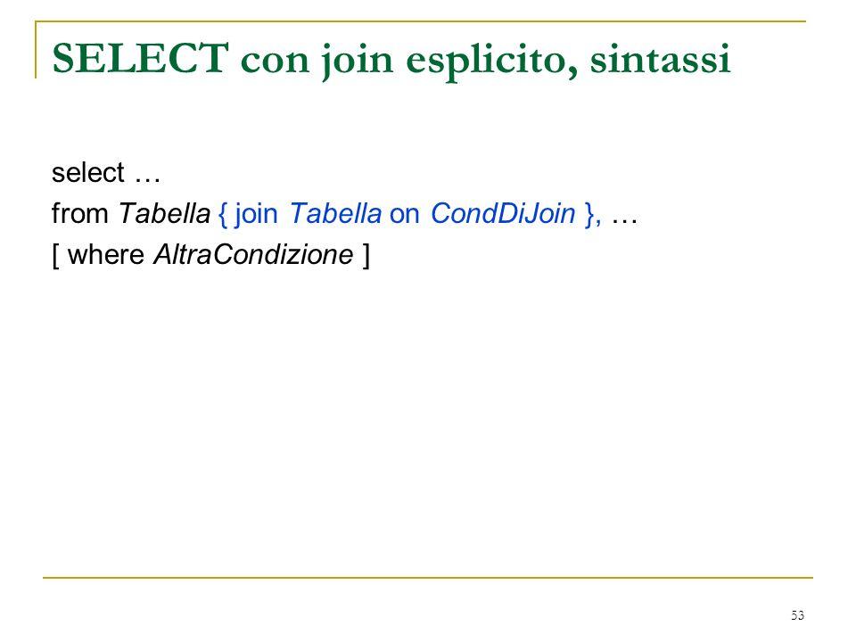53 SELECT con join esplicito, sintassi select … from Tabella { join Tabella on CondDiJoin }, … [ where AltraCondizione ]
