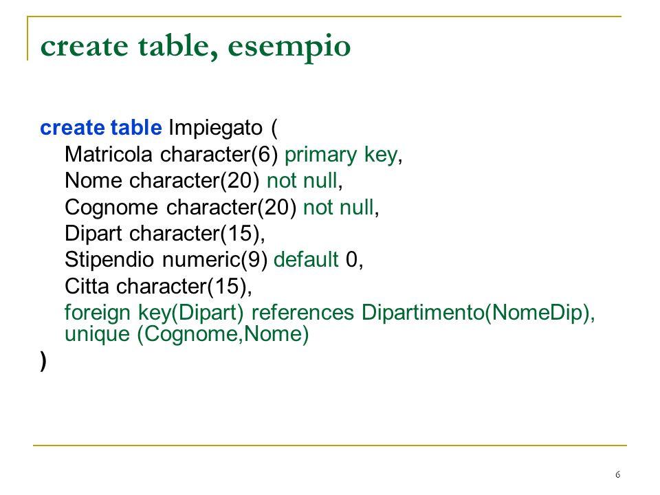 7 SQL e modello relazionale Attenzione: una tabella in SQL è definita come un multiinsieme di ennuple.